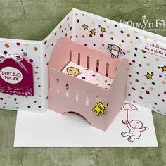 Z-Fold Baby Crib Card with Blanket Z Cards, Pop Up Cards, Kids Cards, Stampin Up Cards, Your Cards, Greeting Cards, Fancy Fold Cards, Folded Cards, Diy Birthday