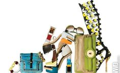 All Balenciaga. From left: Painted metal bracelet, fall 2010; clutch, spring 2009; chain bracelet, spring 2007; collage platform shoes, fall 2010; metallic signet rings, spring 2007; Edition sunglasses, spring 2007; Lune clutch, fall 2009; gladiator boot, spring 2008.