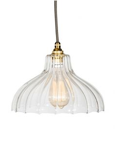 Handcrafted Fluted Glass Parasol Light