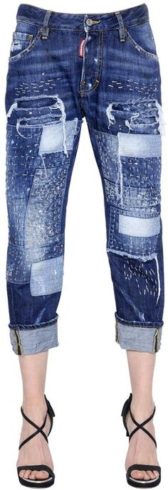 Workwear Stitched Patchwork Denim Jeans