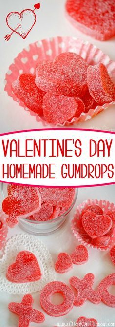 Homemade Valentines Day Gumdrops - made with applesauce and JELL-O! - Homemade Valentines Day Gumdrops – made with applesauce and JELL-O! Easy delicious and fun! Valentine Desserts, Homemade Valentines, Valentines Day Treats, Valentine Cookies, Holiday Treats, Kids Valentines, Valentines Baking, Valentines Day Chocolates, Valentine Candy Recipe