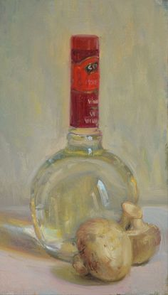 """Mushrooms with Bottle of White Wine Vinegar"" by Duane Keiser"