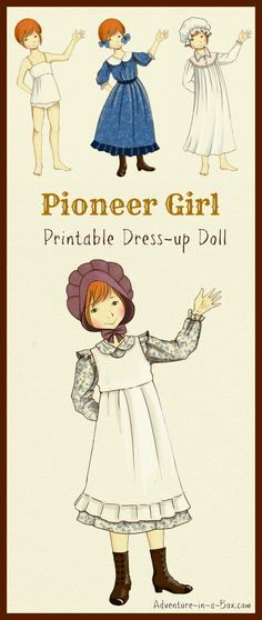 Printable Pioneer Dress-Up Doll: Print and cut this free design to create your own little pioneer dress-up doll, inspired by our family's love for Little House on the Prairie. A great craft for fans of all ages! Pioneer Day Activities, Activities For Kids, Crafts For Kids, Arts And Crafts, Paper Crafts, Primary Activities, Pioneer Girl, Pioneer Dress, Pioneer Camp