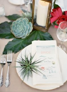 Day-Of Wedding Stationery Inspiration and Ideas: Colorfully Illustrated Menus via Oh So Beautiful Paper