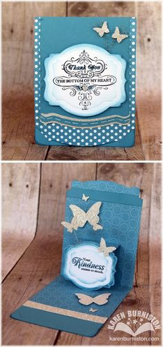 Pop-up Thank You Butterfly Card using Stampin' Up! Pop 'n Cuts Card Base, Label Insert and Deco Label Framelits.