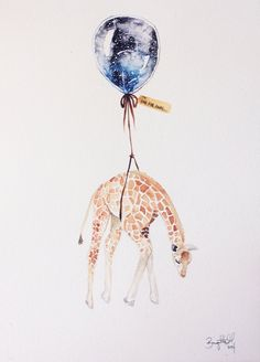 giraffe..balloon, watercolors, far, far away...these are a few of my favorite things :) illustration by brigitte may