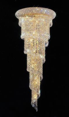 Pecaso Lighting Spiral crystal chandelier / gold plated