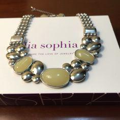 "Necklace - Lia Sophia Sophia Lia statement necklace -CLOUDBURST.  Silver metal w/ off-white accents.  16-19"" Worn once. Lia Sophia Jewelry Necklaces"