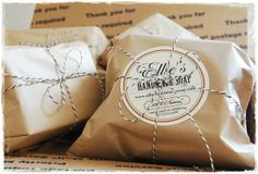 soap wrapped in butcher or parchment paper with white sticker label and black/white string or red/white string