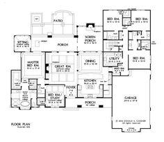 This 5 bedroom home plan is now in progress! http://houseplansblog.dongardner.com/conceptual-design-1378-open-concept-5-bedroom-plan/. #HousePlansBlog #DesignInProgress #OneStory