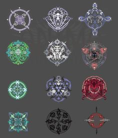 Anima: snowflakes, may be by Wen-M on DeviantArt Magic Symbols, Ancient Symbols, Alchemy, Magic Circle, Magic Art, Book Of Shadows, Sacred Geometry, Designs To Draw, Game Design