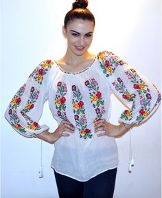 roumanian peasant blouse , roumanian folk fashion shop www. Folk Fashion, Ethnic Fashion, Luxury Fashion, Folk Costume, Peasant Blouse, Style Me, Floral Tops, Bell Sleeve Top, Tunic Tops
