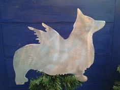 Pembroke Welsh Corgi, Angel Dog Tree Topper, Holiday Decoration, Aluminum
