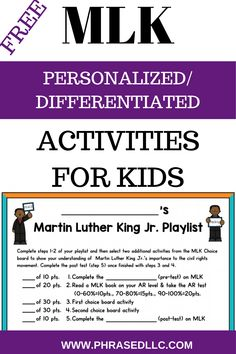 Martin Luther King Jr. or MLK activities for kids in upper elementary and middle school. Use this personalized and differentiated Martin Luther King Jr. activity to help children research and use their strengths to learn about MLK. Give students a good starting point with information, links to resources and videos on his early life, childhood, education, family, achievements, speeches, quotes and more. #mlkactivitiesforkids #martinlutherkingjractivitiesforkids…