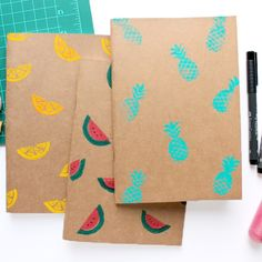 Add tropical fruit prints to your plain notebooks or Moleskines with this fast and easy DIY project.