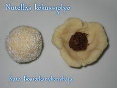 Nutellás kókuszgolyó recept lépés 2 foto Nutella, Pancakes, Muffin, Pudding, Breakfast, Desserts, Food, Morning Coffee, Tailgate Desserts