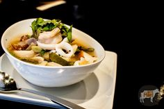Po Taek $17 Mixed seafood clear soup with lime juice, Thai herbs, mushroom and Thai holy basil