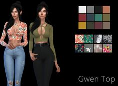 Leo 4 Sims: Gwen top recolored • Sims 4 Downloads