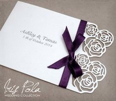 Lazer Cut Roses Paper Lace Wedding Invitation Ribbon by IrisPola