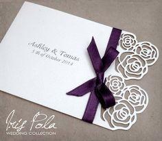 Lazer Cut Roses Paper Lace Wedding Invitation Ribbon by IrisPola