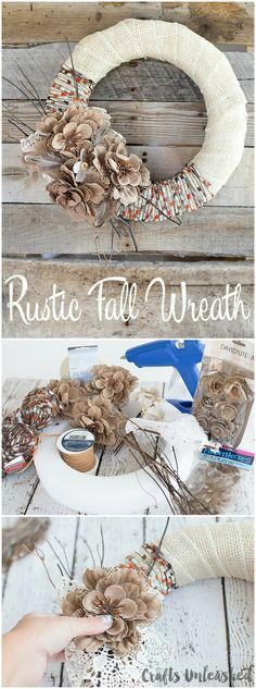 Fall Wreath DIY Project Idea Burlap & Yarn Consumer Crafts is part of Rustic Fall crafts - Today, I'm sharing how to use a few fun accessories to create this lovely rustic fall wreath DIY Keep reading as I show you how to make your own! Easy Fall Crafts, Holiday Crafts, Diy And Crafts, Stick Crafts, Decor Crafts, Diy Fall Wreath, Fall Diy, Wreath Ideas, Summer Wreath