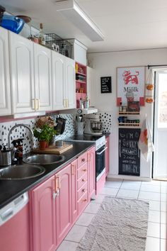 A Fun Swedish Home Has a Pink Kitchen and an Indoor Skate Ramp - Carrie McAllister - A Fun Swedish Home Has a Pink Kitchen and an Indoor Skate Ramp A Fun Swedish Home Has a Pink Kitchen and an Indoor Skate Ramp: gallery image 12 - Swedish Kitchen, Swedish House, Boho Kitchen, New Kitchen, Pink Kitchen Decor, Pink Kitchen Walls, Pink Kitchen Cabinets, Pink Kitchen Designs, Cute Kitchen