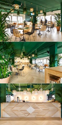 Creation of the BAP Monceau coworking space bar in Paris by the Hopfab artisans. A beautiful nature and design project, as we like it! To F… - Lombn Sites Decoration Restaurant, Deco Restaurant, Restaurant Concept, Restaurant Interior Design, Espace Coworking Paris, Coworking Space, Corporate Interiors, Office Interiors, Theme Nature