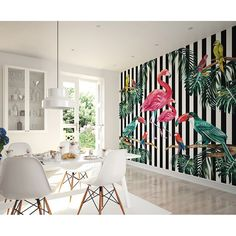 Large Photo Wallpaper Wall Mural for Dining Room Wall Decor, Kitchen Decor, Bedroom Wall Art - Tropical Island Life Wallpaper by PurpleEyeDesign on Etsy Flamingo Wallpaper, Tropical Wallpaper, Bird Wallpaper, Striped Wallpaper, Photo Wallpaper, Wallpaper Murals, Wildlife Wallpaper, Bedroom Wallpaper, Motif Tropical