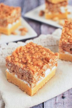 Salted Nut Roll Bars - marshmallows, peanut butter, peanuts, and Rice Krispies! And it starts with a box of cake mix. Divine.