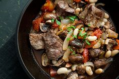 { quick beef stew with mushrooms & white beans // simply recipes } Quick Beef Stew, Hearty Beef Stew, Beef Recipes, Soup Recipes, Cooking Recipes, Healthy Recipes, Recipies, Healthy Meals, Easy Recipes
