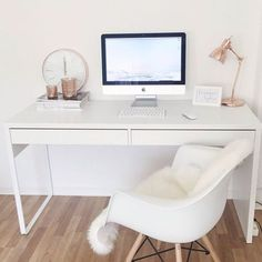 Eames Chair with Arms in White Replica - Crated Furniture Home Office Design, Home Office Decor, Office Ideas, Office Designs, Office Style, Ikea Office, Office Chic, Office Workspace, Desk Inspiration