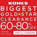Kohl's Biggest gold star clearance 60-80% off.