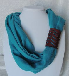 Handmade Leather Scarf Cuff with Chevron by TandJLeatherAccents