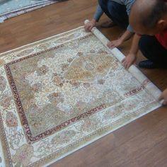 Turkish design handmade silk rug