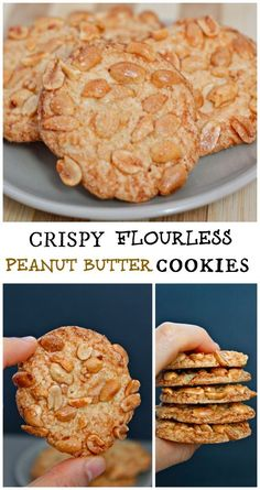 Crispy Flourless Peanut Butter Cookies- Healthier than your standard cookie, these take less than 15 minutes from prep to plate- gluten free, flourless, grain free and delicious! #glutenfree #grainfree