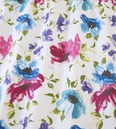 iLiv In Bloom CRAH/INBLOSUM Summer Brights fabric from the In Bloom collection, priced per metre. Capturing the essence of summer days and the allure of the English garden, the In Bloom Collection comprises an elegant mix of painterly floral prints with vibrant stripes and silhouette floral jacquards