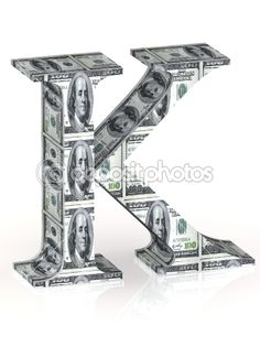Letter K 100 dollar wrapped. by megastorm - Stock Photo