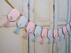 First Year Picture Banner, Embossed Aqua, Pink and Gold Banner with Tulle, First Birthday Decoration, 12 Month Photo Banner, 1st Birthday