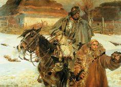 Wojciech Kossak, Wounded Cuirassier with a Girl, 1908