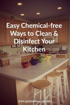 Easy chemical free recipes and tips for cleaning and disinfecting your kitchen. DIY cleaning supplies! http://www.paintedteacup.com