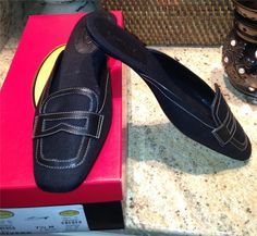 NEW Auth $88 Talbots Mixer6 Black Linen Leather Mules Slides Shoes 7.5 M - $19.95 on Ebay