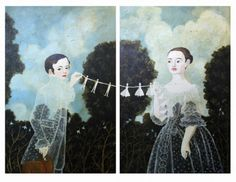 Papergarland, 2010 Acrylic on panel, 24x36 inches each