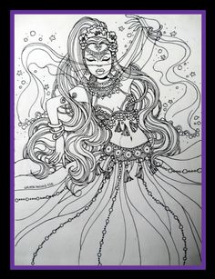 and Bells on Her Toes by artist Nelson Failing, Adult Coloring Adult Coloring Pages, Coloring Books, Colouring, Gypsy Tattoo Design, Drawing Sketches, Art Drawings, Black And White Illustration, Community Art, Cool Art