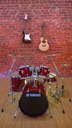 Our has the cliches and the unique collectibles. We liked this drum set and guitars Man Caves, Amazing Spaces, The Man, Drums, Guitars, Unique, Men Cave, Man Room, Percussion