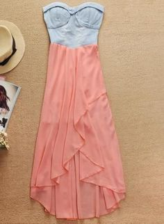 Pink Strapless Dress - Denim Strapless High Low Chiffon / UsTrendy.