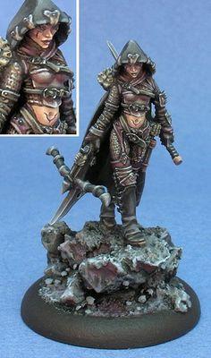 Eiryss alternate sculpt, a Warmachine Mercenary by Jen Haley