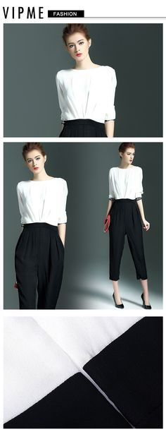 Elegant jumpsuit for the fall! Simple colorblock design could be your great office outfit. Check with VIPme.com and be professional!