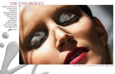 Simona Antonovic make-up artist/ Storybook beauty editorial / Metallic silver eyeshadow eyeliner