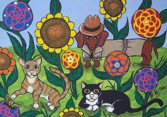 """THE SPY"" DACHSHUND PUPPY CATS Kitty DOG FLOWER Art Original Painting 8x10 ELLISON"