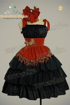 "Steampunk Lolita: ""Airship Pirate"" Embroidery Trimmings Clockwork Cotton JSK Dress&Real Watch Hairdress/Jabot*3color"